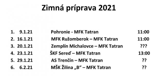 Prípravné zápasy MFK Tatran Liptovský Mikuláš