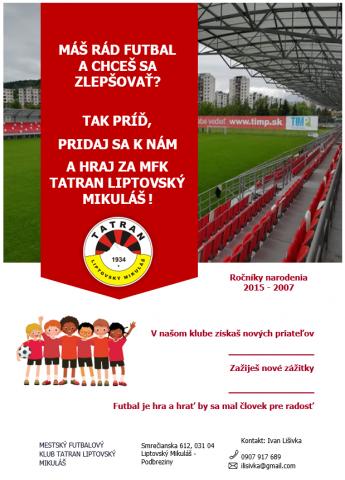 Pridaj sa k nám a hraj za MFK Tatran Liptovský Mikuláš