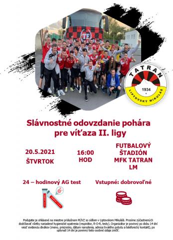 Slávnostné odovzdanie pohára pre víťaza II. ligy
