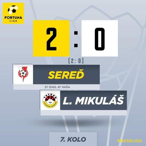 So Sereďou prehra o dva góly